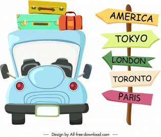 travel design elements bus luggage signboard sketch