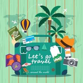 travel design elements personal accessories icons