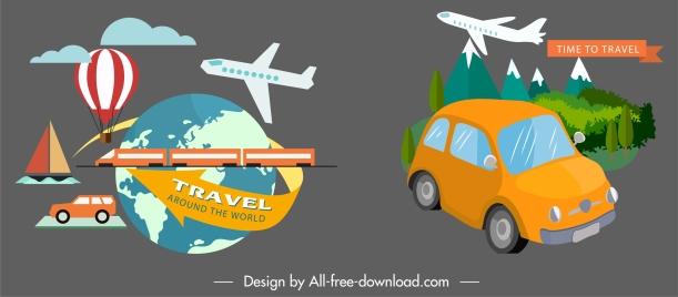 travel design elements vehicles globe landscape sketch