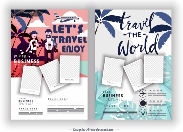 travel flyer templates colorful classic decor