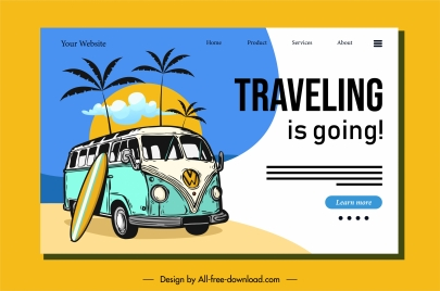 travel homepage template retro decor sea trip elements