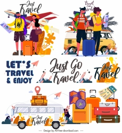 travel icons colorful classic decor cartoon sketch