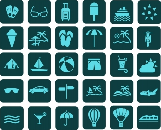 travel icons isolation various symbols in blue