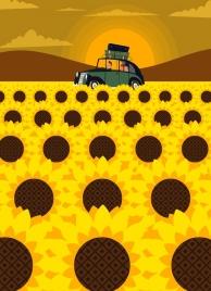 travel painting sunflower field car sun icons decoration