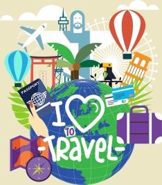 travel poster globe vacation design elements decor