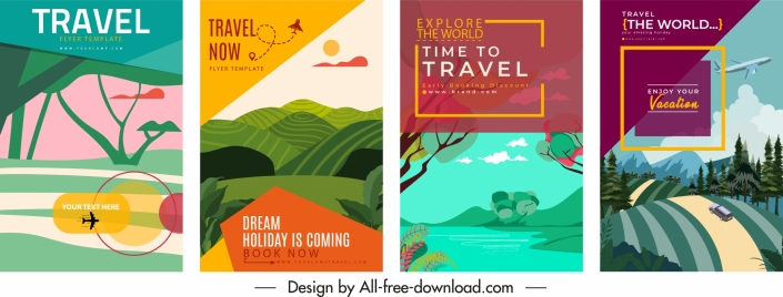 travel poster templates scenery sketch colorful classical