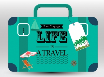 travel promotion banner green suitcase tourist icons decor