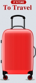 travel time banner red luggage icon decor