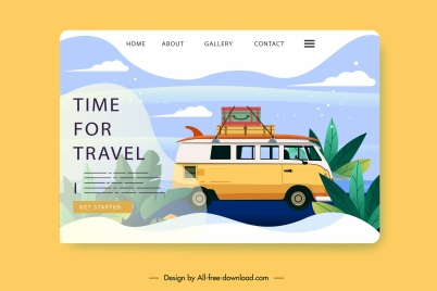travel webpage template bus vacation sketch colorful decor