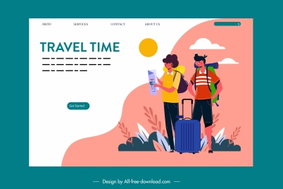 travel webpage template colorful classic decor
