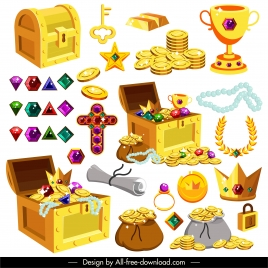 treasure icons golds gems sketch modern 3d sketch