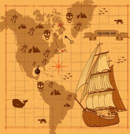 treasure map background antique ship decor sheet backdrop