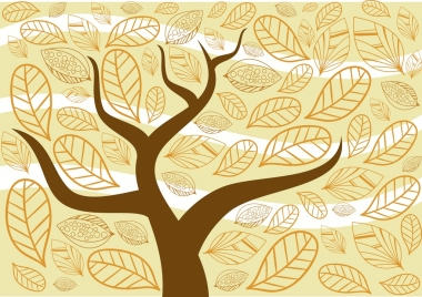 tree and falling leaves decor background cartoon drawing
