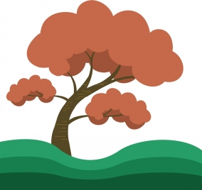 tree drawing curves and colored design