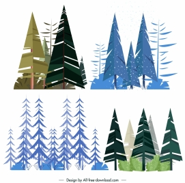tree icons colored classic flat sketch