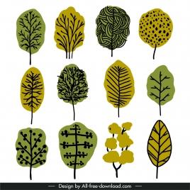tree icons flat retro handdrawn outline