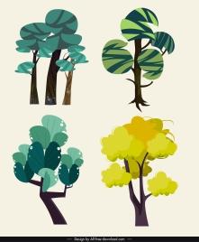 tree icons green flat handdrawn design