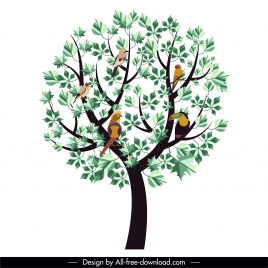 tree painting birds green leaves decor flat sketch
