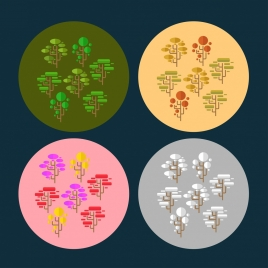 trees icons collection geometric circle style