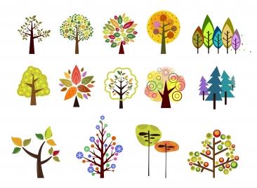 trees vector illustration set