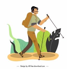 trekker icon classic design cartoon character sketch