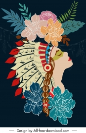 tribal background dark colorful classic flowers woman decor