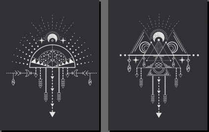 tribal decorative background flat symmetric geometry outline