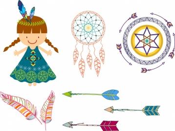 tribal design element various colored symbols sketch