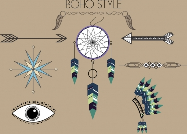 tribal design elements boho style symbols