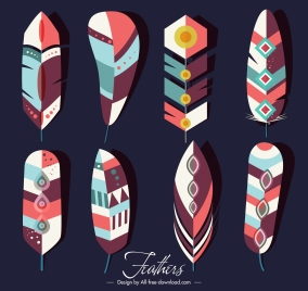 tribal feather icons colorful classical decor