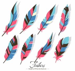 tribal feathers icons multicolored classic decor