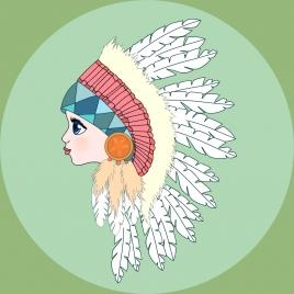 tribal girl portrait colored cartoon handdrawn sketch
