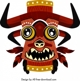 tribal mask icon colored classical design horror character