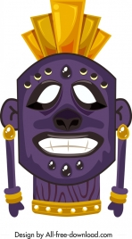 tribal mask icon funny face design colorful decor