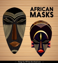 tribal mask icons colorful dark decor symmetrical design