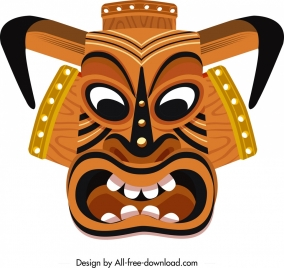 tribal mask template angry face icon colorful design