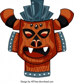 tribal mask template classical colored design horror face