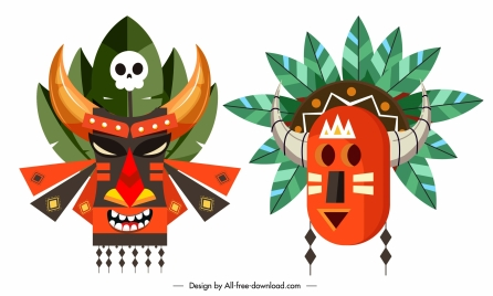 tribal masks icons colorful classic design