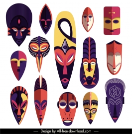 tribal masks icons colorful horror faces sketch