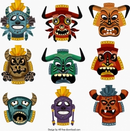 tribal masks templates collection colorful horror design