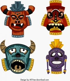 tribal masks templates colorful design horror ornament