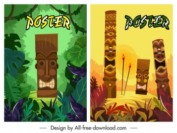 tribal poster templates colorful masks decor
