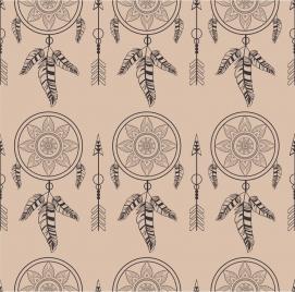 tribal repeating pattern design dream catcher decoration