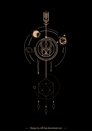 tribal tattoo template planets motion geometry sketch