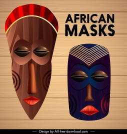 tribe masks icons colorful retro decor scary faces