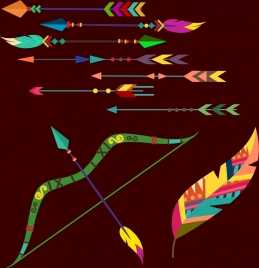 tribe symbol design elements colorful arrows and leaf