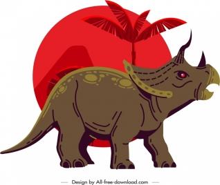 triceraptor dinosaur icon classical design cartoon character sketch