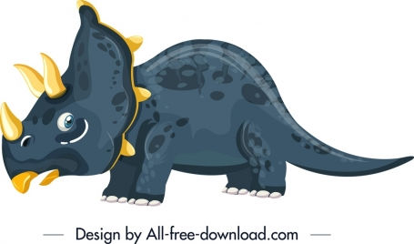 triceraptor dinosaur icon colored cartoon character design