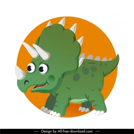 triceraptor dinosaur icon cute cartoon character sketch