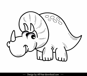 triceratop dinosaur icon cute handdrawn cartoon sketch
